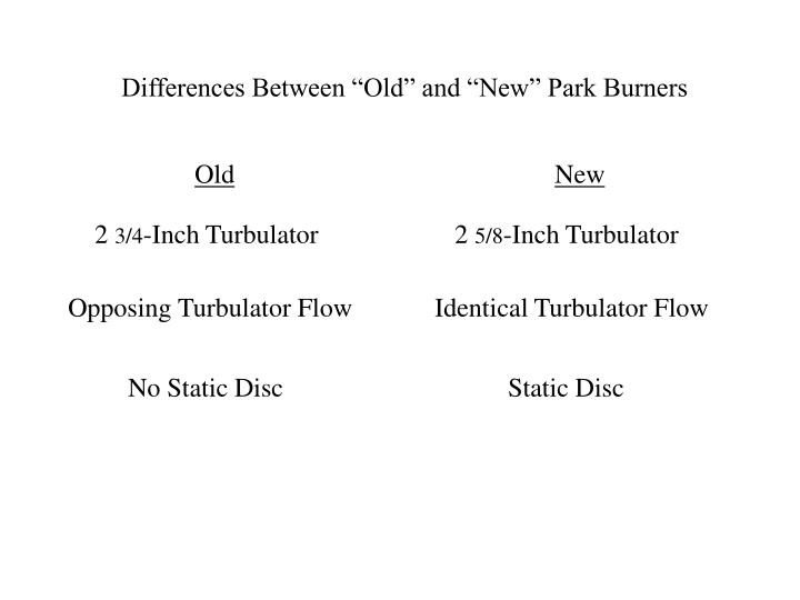 "Differences Between ""Old"" and ""New"" Park Burners"