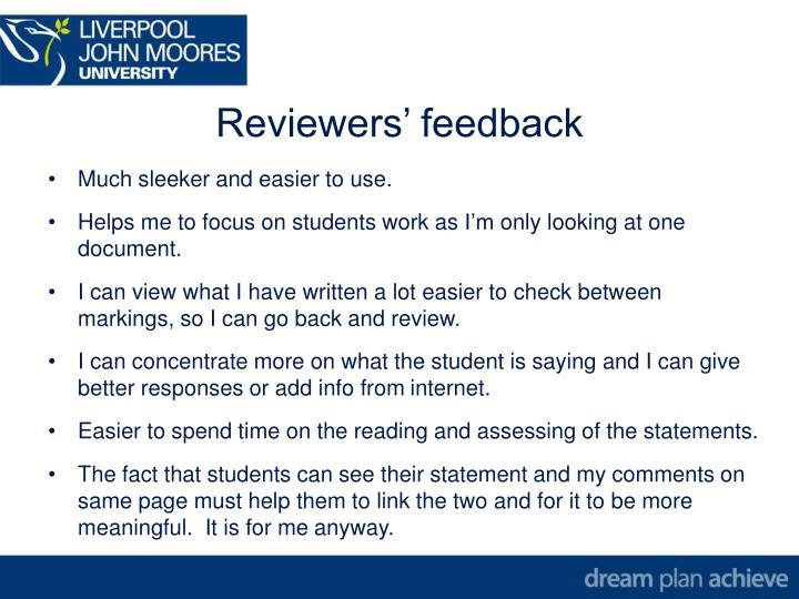 Reviewers' feedback