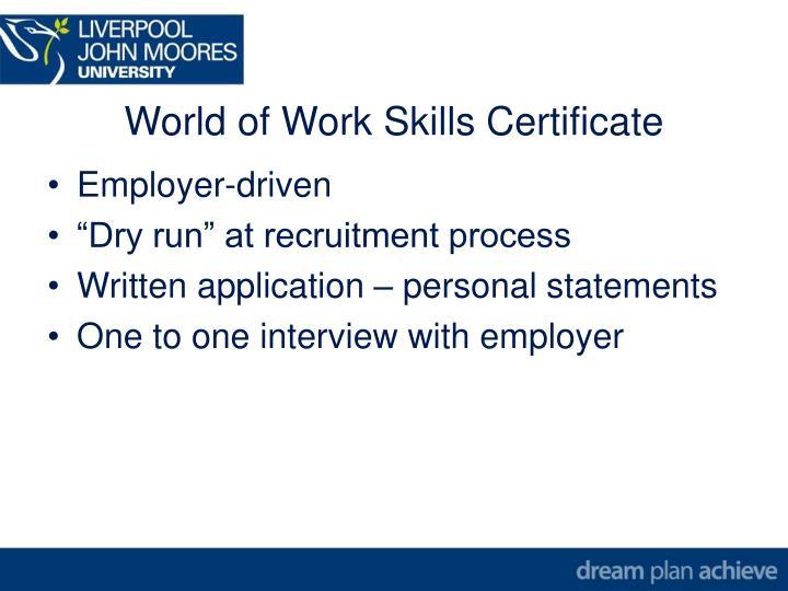 World of Work Skills Certificate
