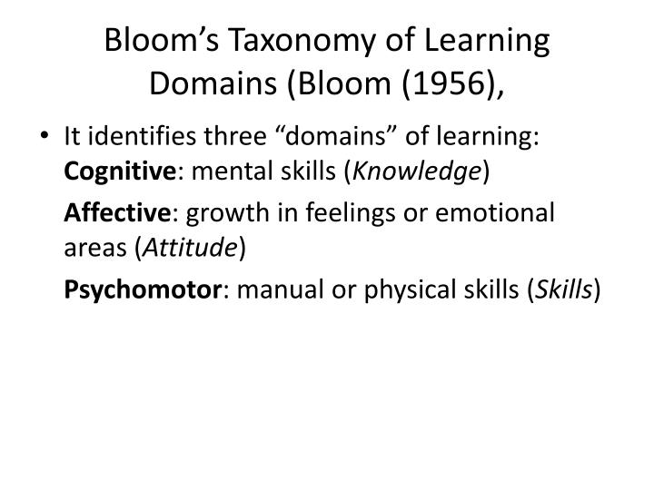 Bloom's Taxonomy of Learning Domains (Bloom (1956),