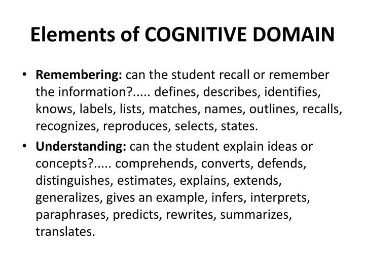 Elements of COGNITIVE DOMAIN