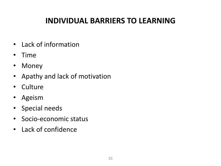 INDIVIDUAL BARRIERS TO LEARNING