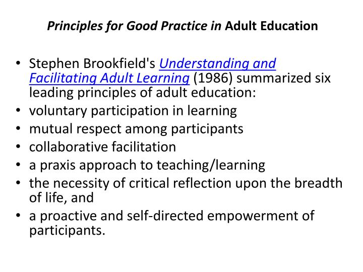 Principles for Good Practice in