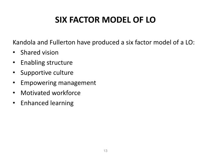 SIX FACTOR MODEL OF LO