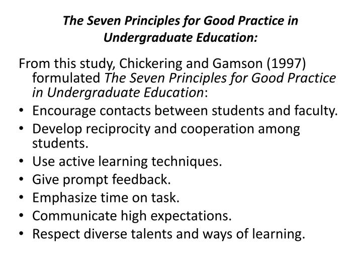 The Seven Principles for Good Practice in Undergraduate Education: