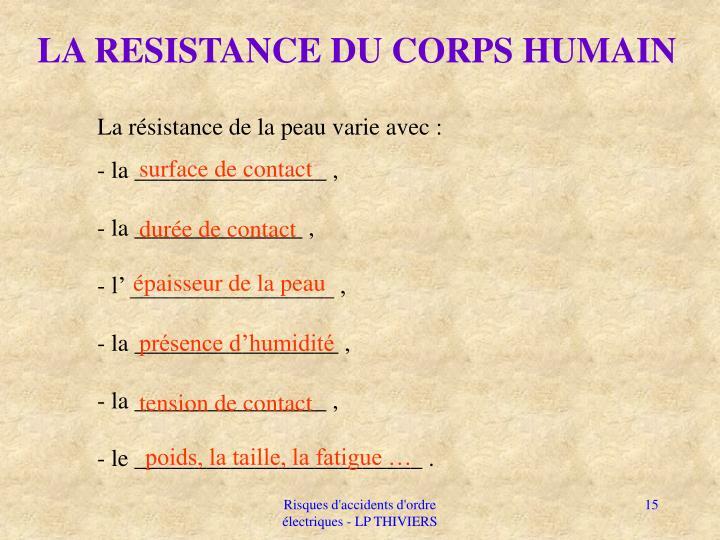 LA RESISTANCE DU CORPS HUMAIN