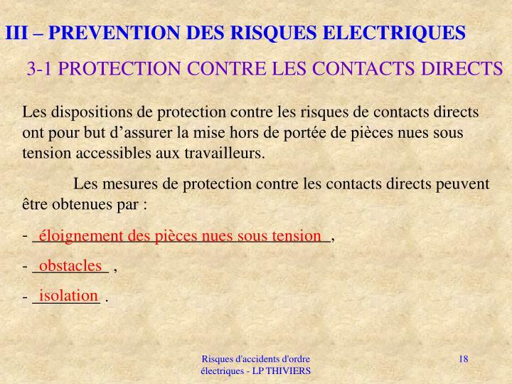 III – PREVENTION DES RISQUES ELECTRIQUES