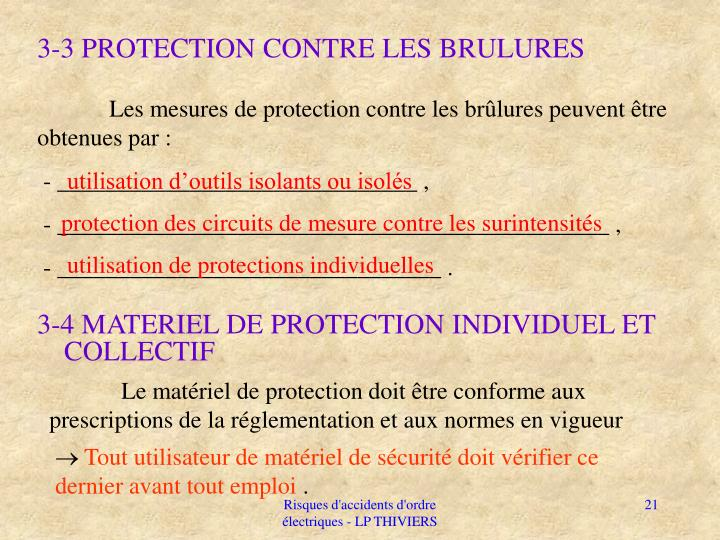 3-3 PROTECTION CONTRE LES BRULURES