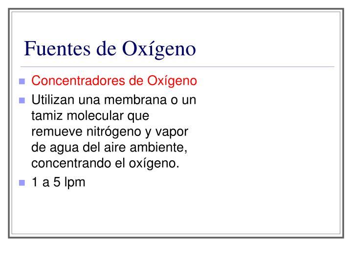 Fuentes de Oxígeno