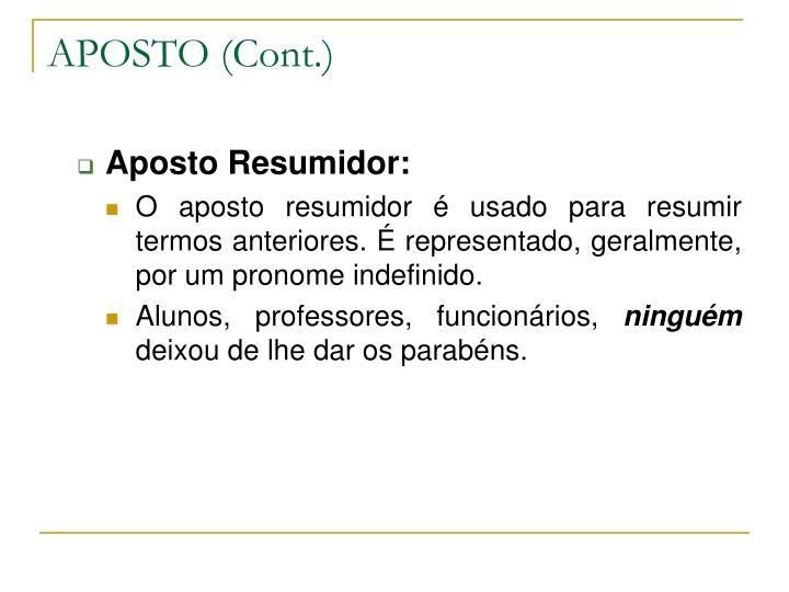 APOSTO (Cont.)