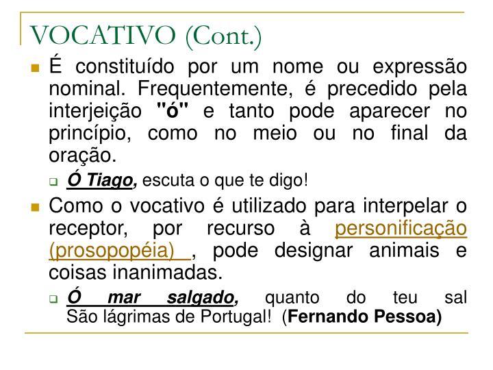 VOCATIVO (Cont.)