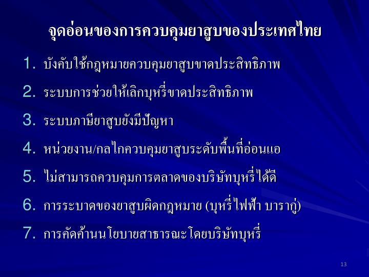จุดอ่อนของการควบคุมยาสูบของประเทศไทย