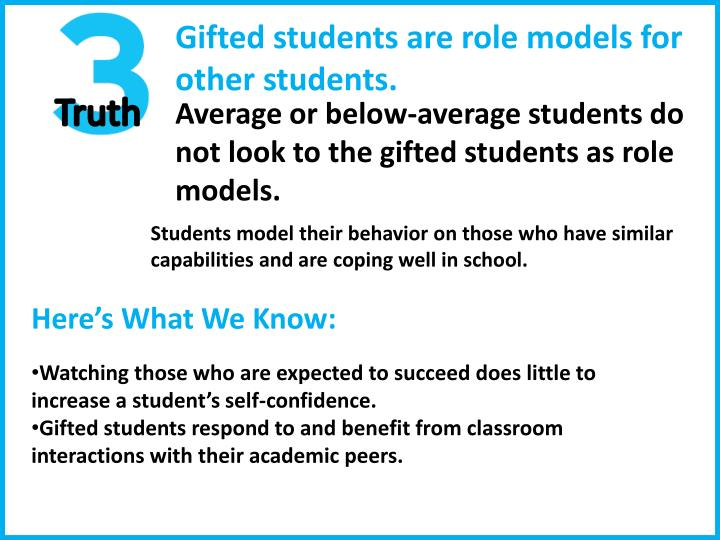 Gifted students are role models for
