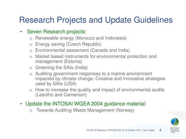Research Projects and Update Guidelines