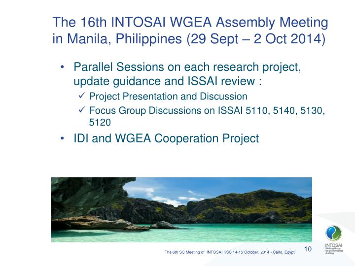 The 16th INTOSAI WGEA Assembly Meeting in Manila, Philippines