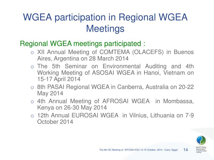 WGEA participation in Regional WGEA Meetings