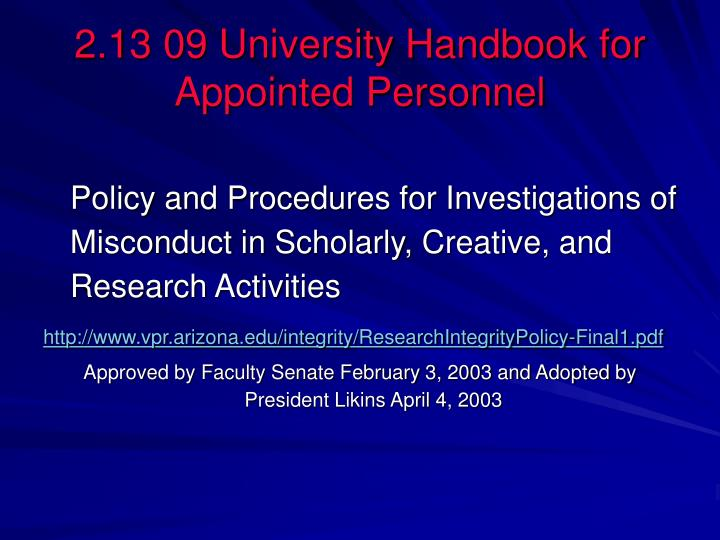 2.13 09 University Handbook for Appointed Personnel