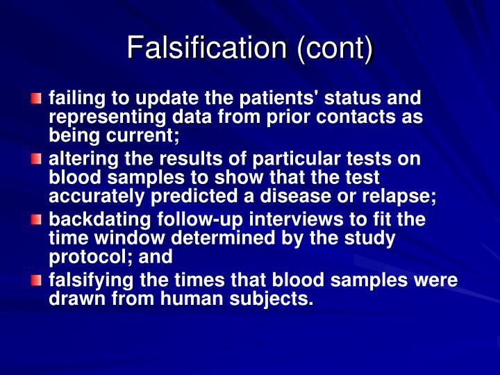 Falsification (cont)