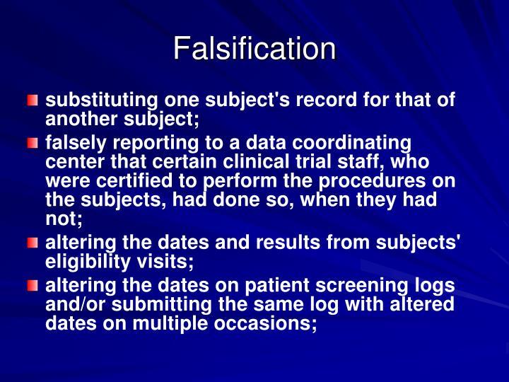 Falsification