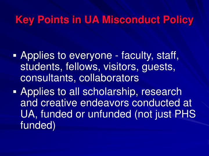 Key Points in UA Misconduct Policy