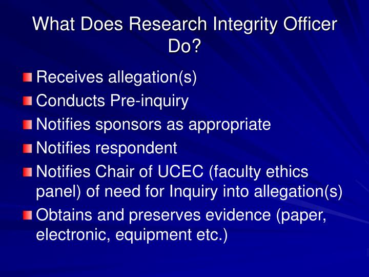What Does Research Integrity Officer Do?
