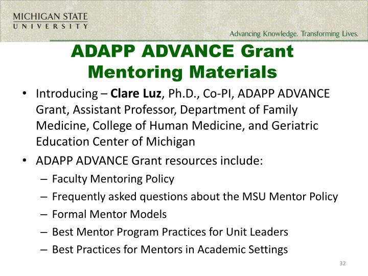 ADAPP ADVANCE Grant  Mentoring Materials