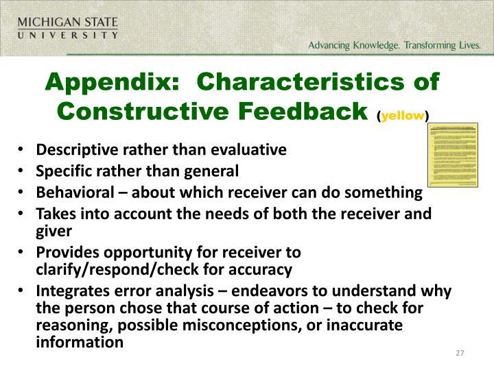 Appendix:  Characteristics of Constructive Feedback