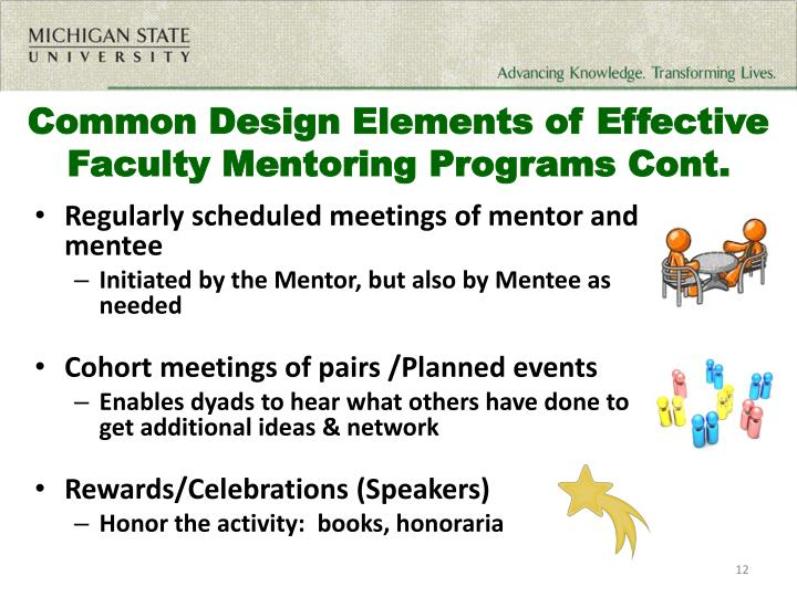 Common Design Elements of Effective Faculty Mentoring Programs Cont.