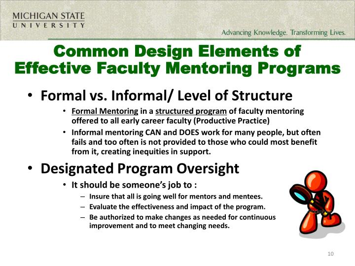 Common Design Elements of Effective Faculty Mentoring Programs