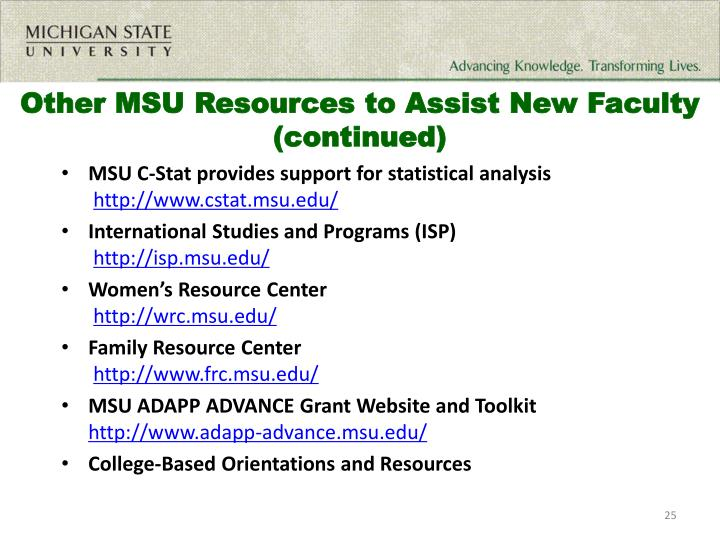 Other MSU Resources to Assist New Faculty (continued)