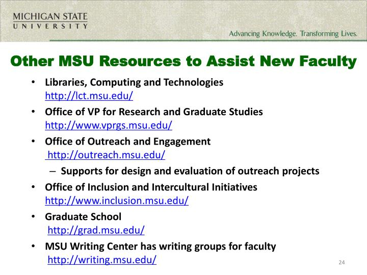 Other MSU Resources to Assist New Faculty