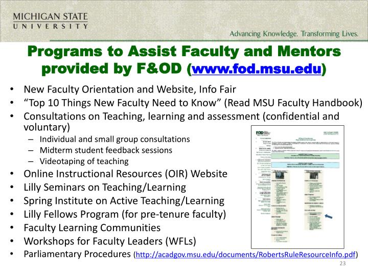 Programs to Assist Faculty and Mentors provided by F&OD