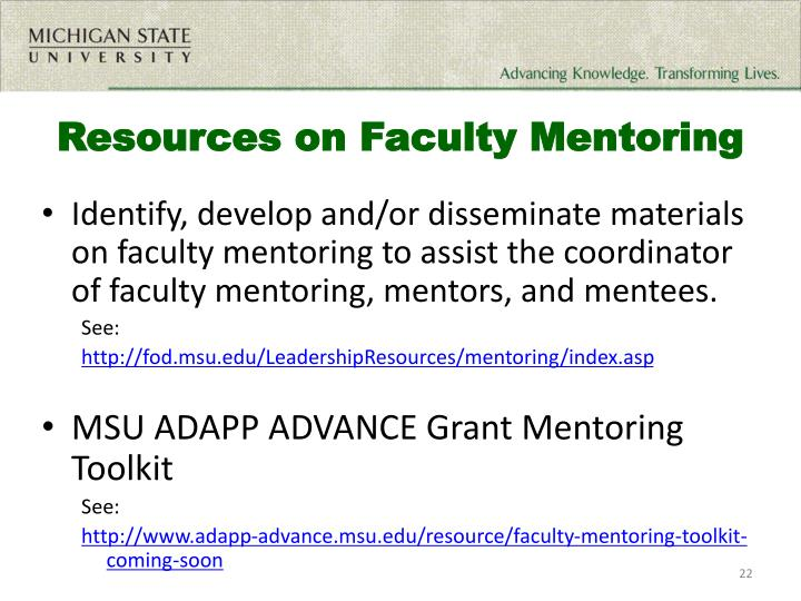 Resources on Faculty Mentoring