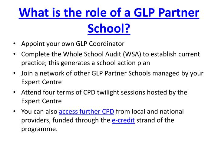 What is the role of a GLP Partner School?