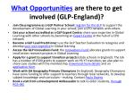 what opportunities are there to get involved glp england