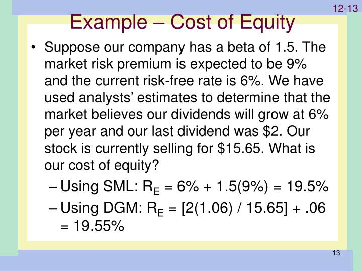Example – Cost of Equity