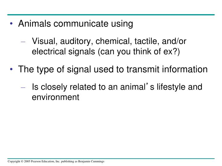 Animals communicate using