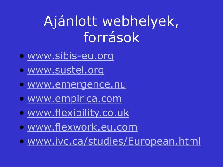 Ajánlott webhelyek, források