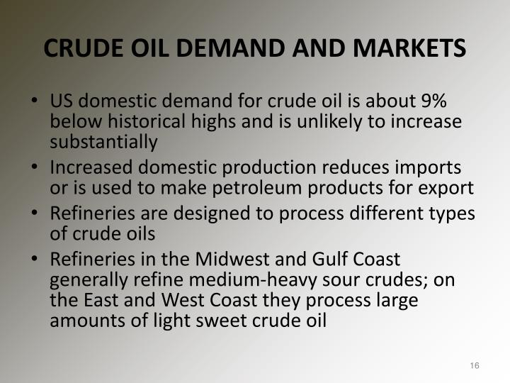 CRUDE OIL DEMAND AND MARKETS