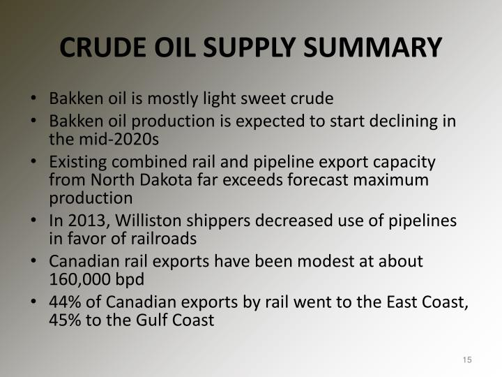CRUDE OIL SUPPLY SUMMARY