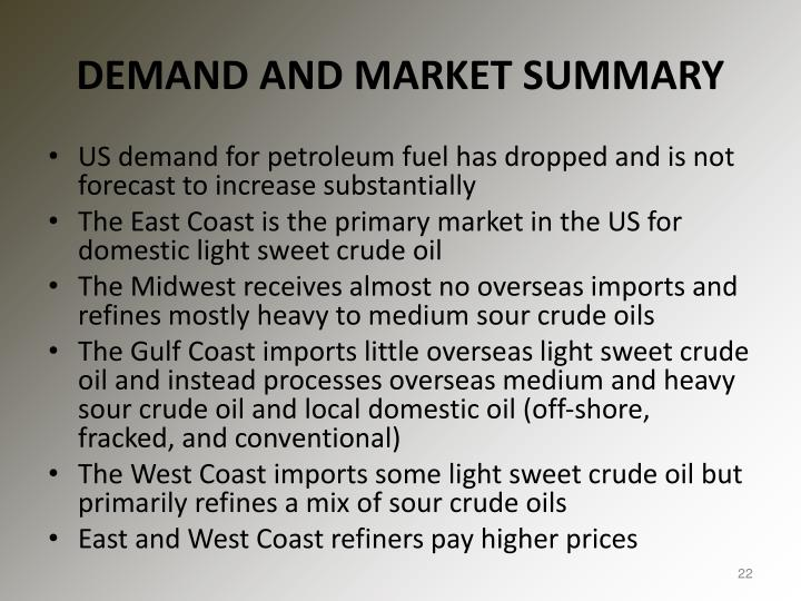 DEMAND AND MARKET SUMMARY