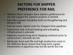 factors for shipper preference for rail