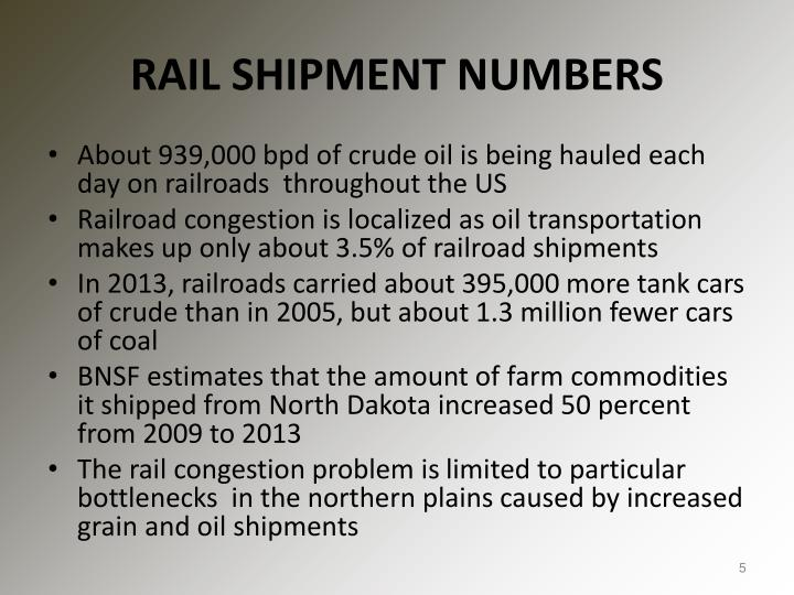 RAIL SHIPMENT NUMBERS