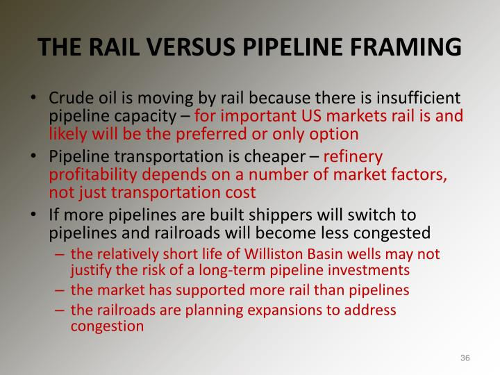 THE RAIL VERSUS PIPELINE FRAMING