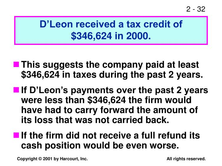 D'Leon received a tax credit of