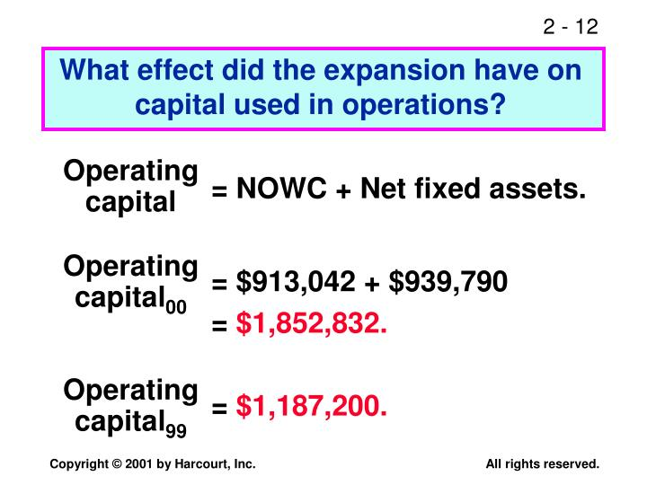 What effect did the expansion have on capital used in operations?