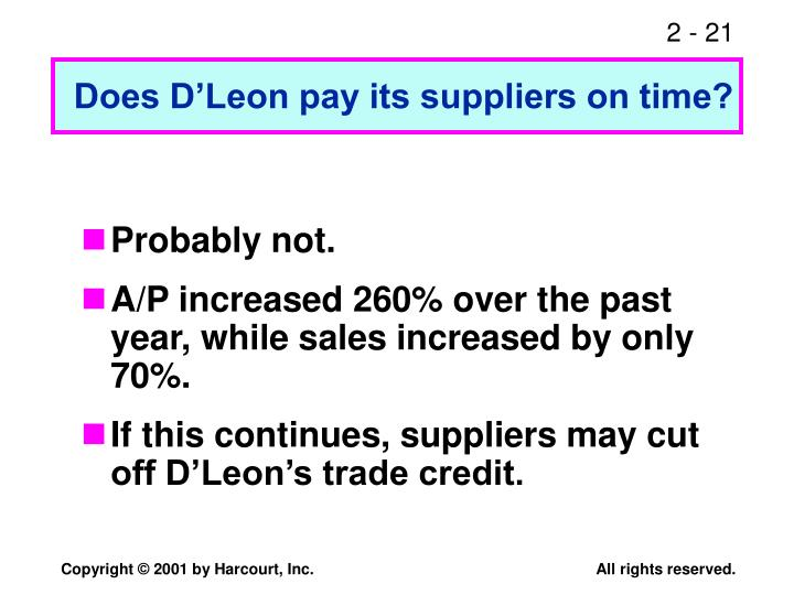 Does D'Leon pay its suppliers on time?