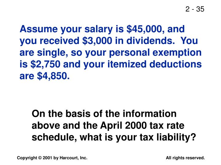 Assume your salary is $45,000, and you received $3,000 in dividends.  You are single, so your personal exemption is $2,750 and your itemized deductions are $4,850.