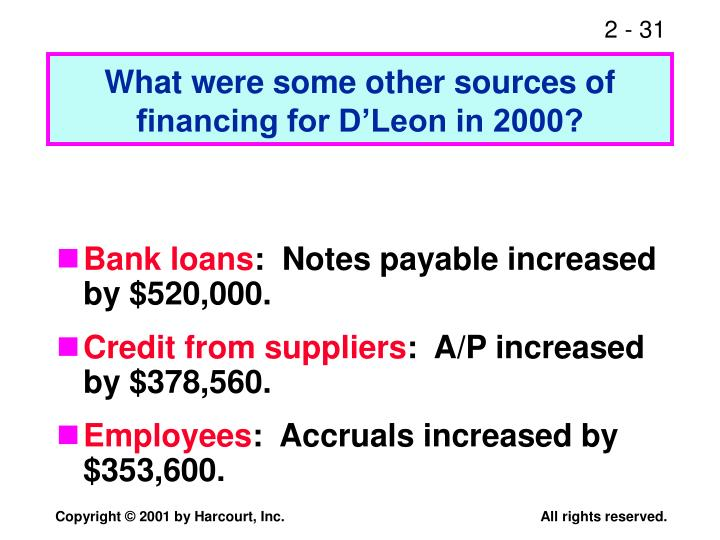 What were some other sources of financing for D'Leon in 2000?