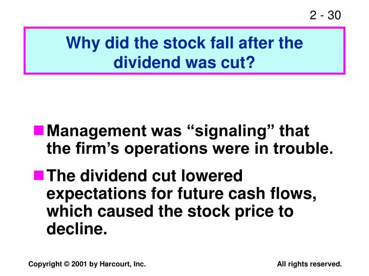 Why did the stock fall after the dividend was cut?